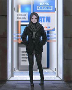 Hijabi Girl, Girl Hijab, Anime Realistic, Anime Poses Female, Anime Art Girl, Anime Girls, Mode Turban, Islamic Cartoon, Hijab Cartoon