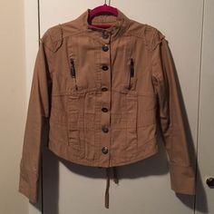 Military style jacket Short beige mock neck jacket.. Corset back. Figure flattering. Feels like denim material but %100 cotton. Yoki Jackets & Coats