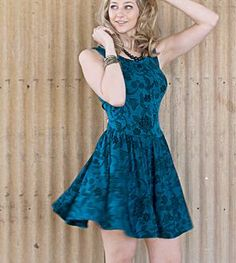 Blue Sleeveless Jacquard Knit Dress