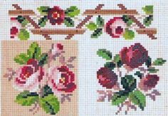 berlin woolwork chart Cross Stitch Rose, Cross Stitch Borders, Cross Stitch Flowers, Cross Stitch Charts, Cross Stitch Designs, Cross Stitching, Rose Embroidery, Cross Stitch Embroidery, Embroidery Patterns
