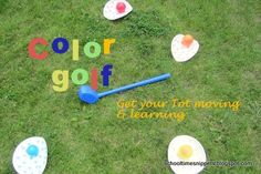 As with most toddlers learning colors, there comes a time when everything is a certain color.  And in this house, everything is purple! Ha!  So, I thought I would combine a little learning and play at the same time in this Color Golf activity.  Perfect outdoor game for toddlers to learn about colors!