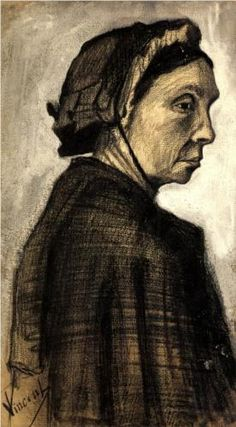 Vincent van Gogh (Dutch: 1853 – 1890) | Head of a Woman (1883). This is drawn in charcoal. This drawing is very realistic as you can clearly make out the tone. The mood of this drawing is very serious almost sad.