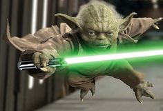 Yoda fights like a badass.... Don't remember which movie but my all time favorite scene is when yoda walks in with his cane, kicks butt, then hobbles out with his cane!!!