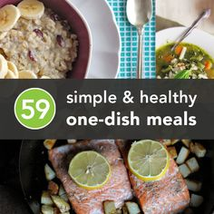 59 Healthy One-Dish Meals A few that we would eat! Healthy One Pot Meals, Healthy Cooking, Healthy Snacks, Healthy Eating, Cooking Recipes, Healthy Recipes, Rockcrok Recipes, Get Thin, I Love Food