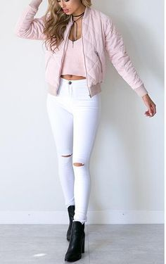 white skinny jeans, ripped denim white jeans, high waist jeans - Crystalline