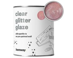 Hemway Clear Glitter Paint Glaze Rose Gold For Pre-Painted Walls Wallpaper Gold Glitter Paint Walls, Rose Gold Wall Paint, Gold Painted Walls, Glitter Bedroom, Rose Gold Painting, Gold Walls, How To Apply Glitter Paint To Walls, Glitter Accent Wall, Glitter Spray Paint
