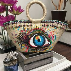 Evil Eye Jewelry, Art Bag, Unique Purses, Jute Bags, Boho Bags, Crochet Handbags, My Boutique, Handmade Bags, Hand Embroidery