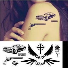 1967 chevy impala,supernatural dean,sam,colt gun pistol temporary tattoo set