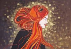 "Saatchi Art Artist Natalia Bienek; Painting, ""The girl with red hair"" #art"