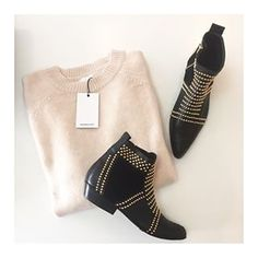Sweaters ✖️ Boots • the Anine Bing Champagne Crew Neck Sweater • Anine Bing Charlie Boots with gold studs ✖️#aninebing #aqwawomenboutique #newarrivals #classics