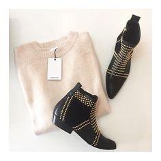 Sweaters ✖️ Boots • the Anine Bing Champagne Crew Neck Sweater • Anine Bing Charlie Boots with gold studs ✖️#aninebing #aqwawomenboutique #newarrivals #classics