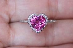 Brand New Pink Sapphire Diamond Heart Engagement Promise Halo Ring in Jewelry & Watches, Fine Jewelry, Fine Rings Heart Jewelry, Cute Jewelry, Diamond Jewelry, Jewelry Rings, Jewelry Accessories, Jewelry Design, Jewellery, Heart Rings, Jewelry Watches