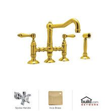 View the Rohl A1458XWS-2 Country Kitchen Three Leg Bridge Faucet with Five Spoke Handles and Side Spray at FaucetDirect.com.