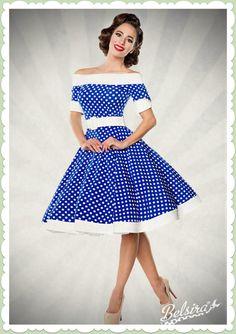 Belsira 50er Jahre Rockabilly Petticoat Kleid - Dots Allover - Blau Wei�