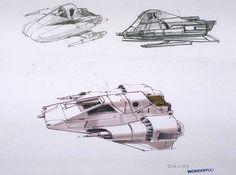 Snow speeder concept sketch by Ralph McQuarrie (no. 159)