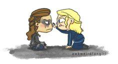 Clarke helping Lexa with her war paint fan art
