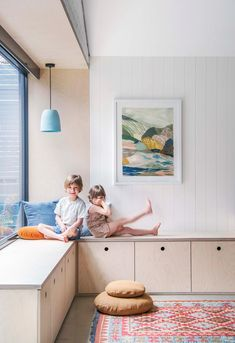 modern family home with Nordic style in Adelaide The kids have their own playroom in this Scandinavian inspired family home in Adelaide. Plywood storage doubles as a sun-drenched seating area for the kids to lounge and play in Family Room, Home And Family, Big Family, Plywood Storage, Plywood Table, Home Design, Interior Design, Modern Cabin Interior, Modern Cabins