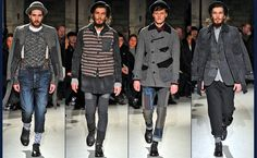 Last week's runway shows in Paris marked the end of the F/W 13 Men's Fashion Week schedule (with the exception of NYC). Stylesight highlights the key denim looks to emerge from the biggest and most directional fashion houses. Grunge Men, Grunge Fashion, High Fashion, Men's Fashion, Junya Watanabe, Highlights, Runway, Costumes, Paris
