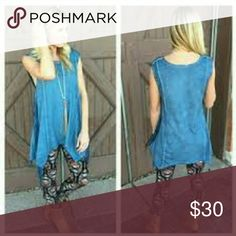 "Blue Wash Dyed Side Fringe Tank A super fun top to go with anything! 65% cotton, 35% polyester.  S:  bust 18', length 28/33"".  M: bust 19"", length 29/34"".  L: bust 20"", length 30/35"". Infinity Raine Tops"