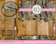 Pink Camo Monogram License Plate Frame Holder Metal Wall Sign Car Truck Front Tags Personalized Custom Vanity RealTree Camo by BlingSity on Etsy