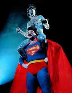 Freddie Mercury riding on the shoulders of Superman during a concert in Japan, 1979