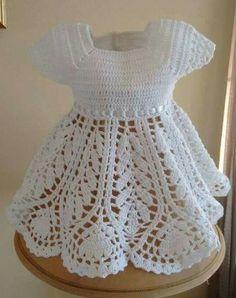 Tığ İşi Beyaz Bebek Elbisesi Örneği - #bebek #Beyaz #elbisesi #İşi #Örneği #Tığ