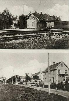 Sør-Trøndelag fylke Trondheim 2-bilders kort med Heimdal jernbanestation og gatemotiv Utg O. Alfarnes 1920-tallet