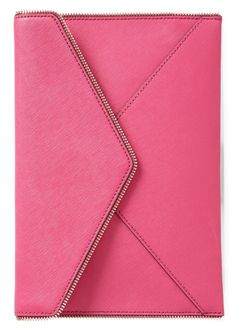 This très chic clutch adds a fun pop of pink to any outfit | Rebecca Minkoff.