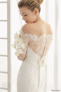rosa clara 2016 bridal collection off the shoulder long sleeves white sheath wedding dress back view zoom dado -- Top 50 Most Popular Bridal Collections on Wedding Inspirasi in 2015 Lace Back Wedding Dress, Rosa Clara Wedding Dresses, 2016 Wedding Dresses, Cheap Wedding Dress, Wedding Suits, Designer Wedding Dresses, Wedding Gowns, Dresses 2016, Lace Wedding