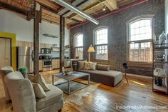 Werthan Lofts living room. Should I ever find myself living in a loft...