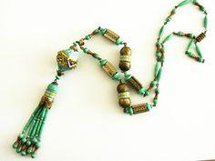 Vintage Art Deco Czech Neiger peking Glass enamel tassel Pendant Necklace   eBay