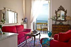 Scenic Villa la Terrazza- villa accommodations in Sorrento near the Amalfi coast overlooking Capri and bay of Naples Amalfi Coast, Terrazzo, Naples, Villa, Bedroom, Sorrento Italy, Furniture, Home Decor, Homemade Home Decor