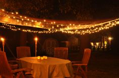 Recipe for great evening on back patio: Hang a tent by it's grommets from the house. Tie other ends to trees in yard using rope. String white lights around edges. Stick 3 tiki torches in ground. Sit back and relax, drink in hand.
