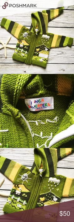 Inca Sweater • Retro Handmade Peru 100% Wool 24M Gorgeous one of a kind Vintage Inca Sweater Handmade in Peru 100% Wool Unisex Size: 24M  Color: Green   Green w various hand sewn multicolored farm scenes featuring llama sheep bunnies etc Size: 24M(no size on label so approximately)  Material - 100% Wool  Excellent Condition preowned vintage Inca Shirts & Tops Sweatshirts & Hoodies