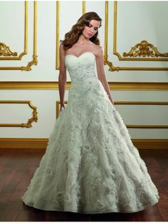 Organza A-line Sweetheart Wedding Dress With Featuring Embroidered Net And Floral Motifs