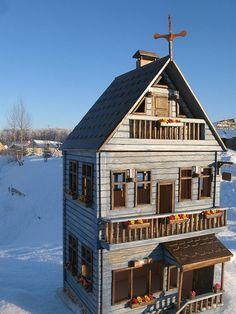 blue wooden dollhouse by miniwood, via Flickr