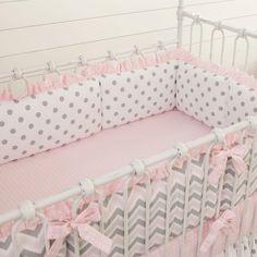 Pink and Gray Chevron Crib Bumper #carouseldesigns