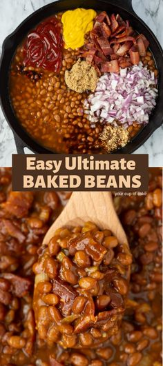 Ultimate Baked Beans Make canned beans even better with this AWESOME recipe! Easy Ultimate Baked Beans that the whole family will love.Make canned beans even better with this AWESOME recipe! Easy Ultimate Baked Beans that the whole family will love. Crock Pot Recipes, Baked Bean Recipes, Side Dish Recipes, Cooker Recipes, Recipes With Baked Beans, Baked Beans Recipe Easy Quick, Crockpot Summer Recipes, Bbq Recipes Sides, Chicken Recipes