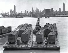 Rail cars crossing the Hudson 1936