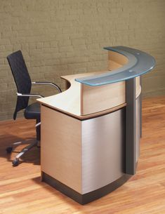 Modern custom Reception Desks & Conference tables with textured metal and Wood bases supporting Stone or Glass tops. Curved Reception Desk, Office Reception Design, Curved Desk, Reception Counter, Reception Desks, Office Furniture Design, Office Interior Design, Medical Office Design, Drywall