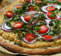 Roasted Hatch Chile White Bean Cheesy Hummus, Kale, Cherry Tomato Pizza on Quinoa Crust