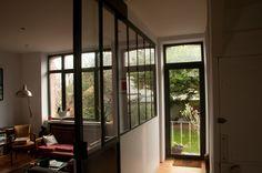 separation vitrée type atelier avec porte coulissante