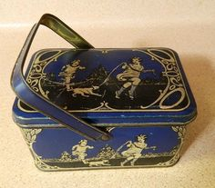 Vintage 1920's tin lunch box, children and dog