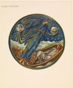 The Flower Book - False Mercury By Sir Edward Burne-Jones 1905 Circular image. A robed floating figure holding an orb in his each hand, hovering over two sleeping men on a barge.