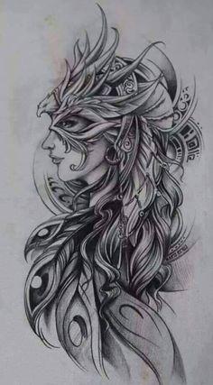 Interesting phoenix design I'd color this. Tribal Tattoos, Body Art Tattoos, Girl Tattoos, Tattoos For Women, Tattoos Skull, Tatoos, Phoenix Tattoo Sleeve, Phoenix Bird Tattoos, Sleeve Tattoos