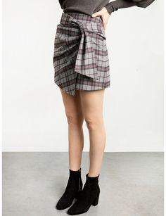Pixie Market Grey Check Wrap Mini Skirt
