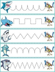 """Trace The Pattern: Sharks & Swimmers Cards. Help your child develop their pre-writing and fine motor skills with """"Trace the Pattern"""" printable cards. Print these out, cut them up, and then laminate for use with Expo markers and pens. Writing Activities For Preschoolers, Shark Activities, Fine Motor Activities For Kids, Preschool Writing, Preschool Learning, Kindergarten Activities, Preschool Activities, Pre Writing, Kids Writing"""