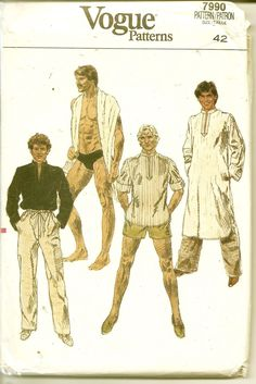 32b4853d361 Vogue 7990 Mens Speedo Swimsuit Caftan Pants Beach Shirt Pattern Adult  Vintage Sewing Pattern Chest 42 Or 38