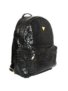 Croc Faux Backpack Black