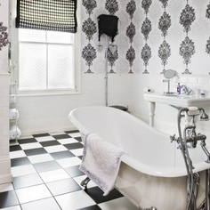 Art Deco-style monochrome bathroom - I love Art Deco style. Gray And White Bathroom, Silver Bathroom, Black And White Tiles, White Art, Bad Inspiration, Bathroom Inspiration, Bathroom Wall Coverings, Art Deco Bathroom, Bathroom Ideas